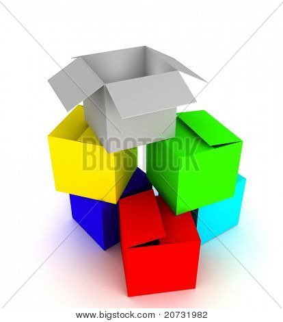 colored box array