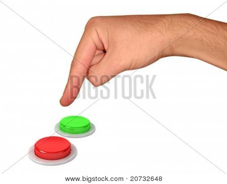 hand and buttons isolated on white