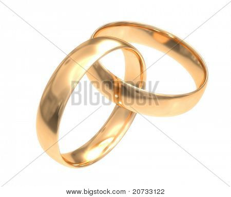 wedding gold rings isolated on white #2