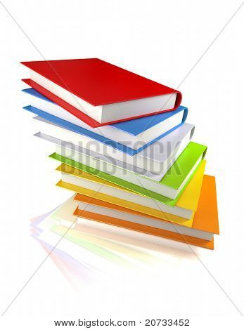 colored books isolated on glossy white