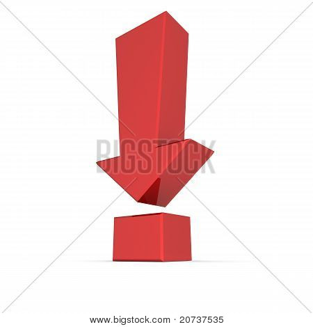 Shiny Red Exclamation Mark Symbol - Arrow Down