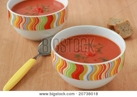 tomato soup in bowls