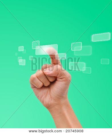 Hand Pressing Button