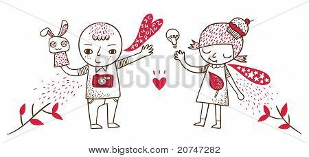 Cute Boy and Girl with Puppet and Light Bulb. Vector illustration.