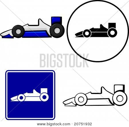 racing car illustration sign and symbol