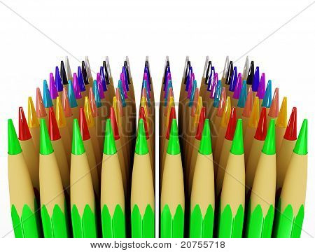 Several Rows Of Colored Pencils