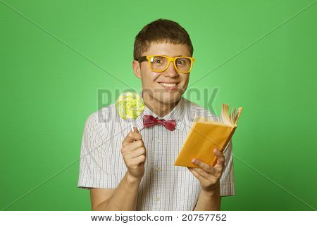 Young man bookworm reading