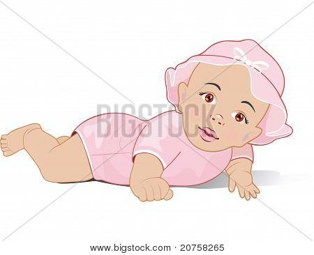 A baby girl lying on her stomach