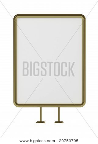 Blank Board For Advertisement, Golden Frame, Front View, Isolated On White