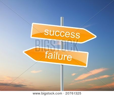 two road signs with words success and failure