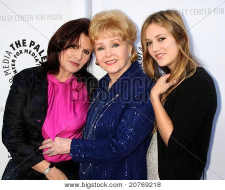 LOS ANGELES - JUN 7:  Carrie Fisher, Debbie Reynolds, Billie Catherine Lourd arrive at the Debbie Reynolds Collection Auction Preview at Paley Center For Media on June 7, 2011 in Beverly Hills, CA