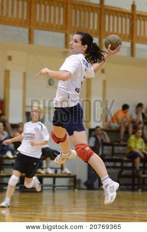 KAPOSVAR, HUNGARY - MAY 22: Szabina Reichert in action at Hungarian Handball National Championship III. match (Kaposvar vs. Balatonboglar) on May 22, 2011 in Kaposvar, Hungary.