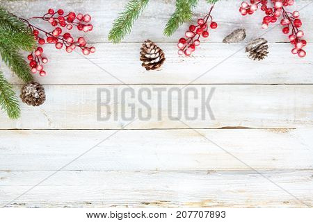 poster of Christmas background - Christmas decorating elements and ornament rustic on white wood table with snowflake. Creative Flat layout and top view composition with border and copy space design.