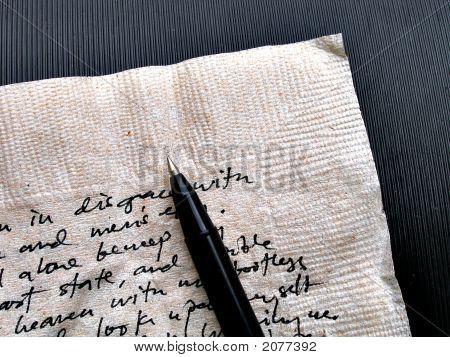 Written Words On Brown Napkin