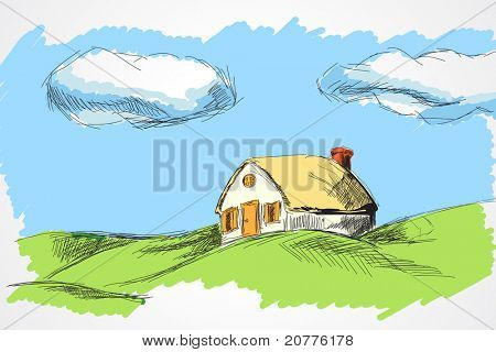 hand draw house in the meadow (vector illustration)