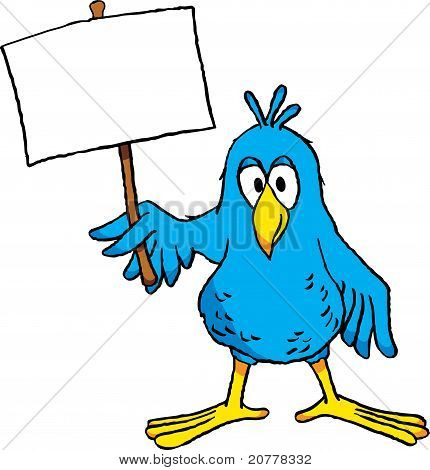 Cartoon Bird with Sign