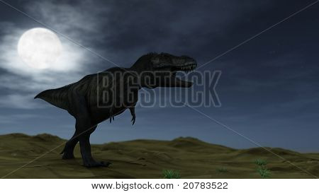 tyrannosaurus at night