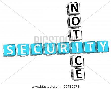 3D Security Notice Crossword