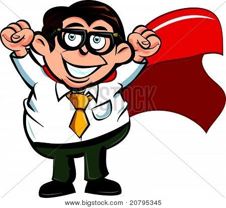 Cartoon superhero business man with upraised fists