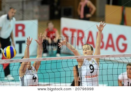SZOMBATHELY, HUNGARY - JUNE 3: Zsanett Miklai (9) in action at a CEV European League woman's volleyball game Hungary vs Bulgaria on June 3, 2011 in Szombathely, Hungary.