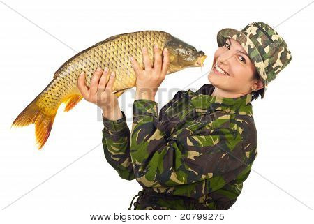 Laughing Fisher Woman Holding Big Fish