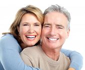 image of human teeth  - Senior smiling couple in love - JPG