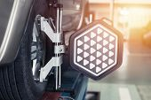 Car Steering Wheel Balancer Calibrate With Laser Reflector Attach On Each Tire To Center Driving Adj poster