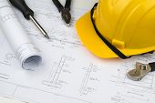 Engineer Construction Business Work Concept : Engineering Blueprint Diagrams Paper Drafting And Indu poster