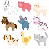pic of billy goat  - Set of funny cartoon pets animals - JPG
