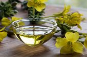 Evening Primrose Oil In A Glass Bowl On A Wooden Table poster
