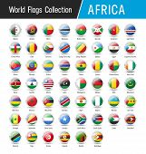 Set Of African Flags - Vector Round Icons poster