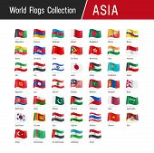 Set Of Asian Flags - Vector Illustrations poster
