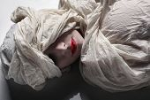 image of unexplained  - Mysterious image of woman wrapped in cloth shroud - JPG