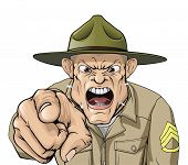 image of boot camp  - Illustration of cartoon angry looking army drill sergeant shouting at the viewer - JPG