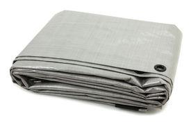 stock photo of tarp  - Folded Gray Tarp Isolated Over White Background - JPG