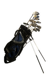 image of golf bag  - Set of Golf clubs on white background including irons metal woods and a putter in a golf bag - JPG