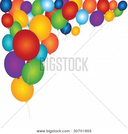 Merry Background With Colorful Balloons