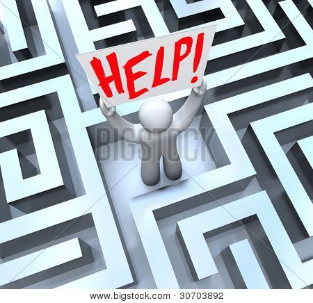 A man stands lost in the middle of a large, confusing maze or labyrinth and holds a sign reading Help