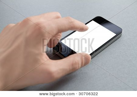 Hand Touching Blank Mobile Phone