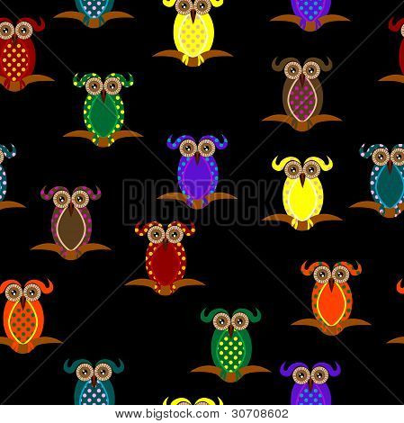 Seamless Pattern With Owl In Ben-day Dots And Pop Colors