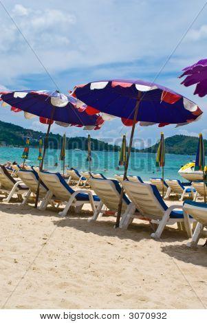Sun Umbrellas At The Patong Beach