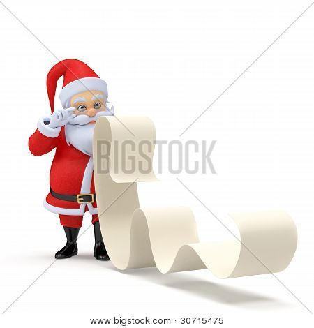 santa with a long wishlist
