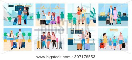 poster of Traveling People, Senior Man And Woman, Couple With Baggage, Friends On Voyage Airport Halls And Tra