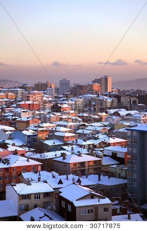 elevated view of houses and snow in istanbul, Turkey