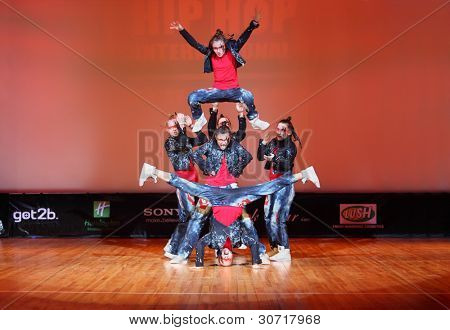 MOSCOW - MARCH 27: Banda force team dance at Hip Hop International Cup of Russia 2011, March 27, 2011 in Moscow, Russia. Main prize is $1000 for each team member and organization of trip to Las Vegas.