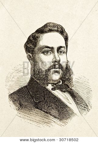 Portrait of Kalakaua, King of the Sandwich Islands. Illustration by Alwin Zschiesche, published on