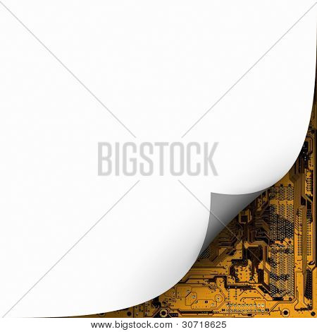 an image of paper curl and circuit board