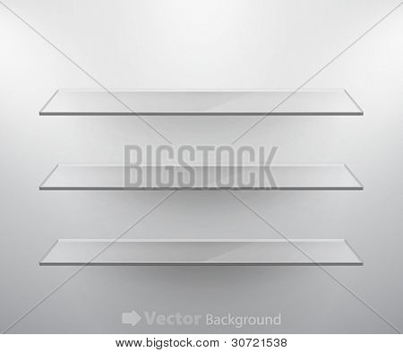 Glass isolated Empty shelves for exhibit. Vector illustration.