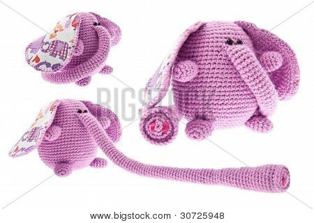 Three Pink Elephants With Long Trunk.