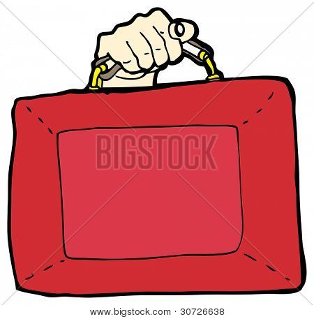 cartoon british budget briefcase